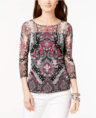 INC International Concepts I.n.c. Printed Mesh Top, Created for Macy's