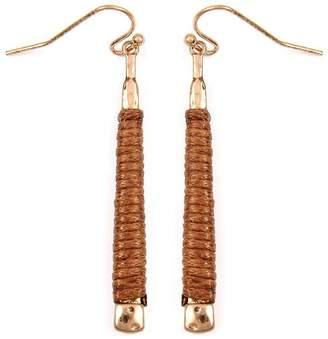 Riah Fashion Brown Wrapped Earrings