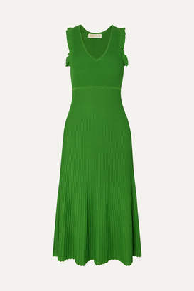 MICHAEL Michael Kors Ruffled Ribbed Stretch-knit Midi Dress - Green