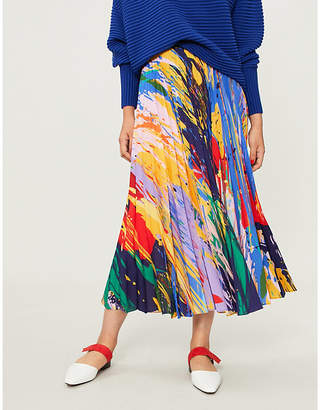 Mary Katrantzou Uni pleated satin midi skirt