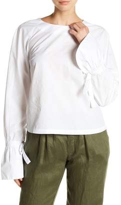 Frame Voluminous Cuff Poplin Blouse