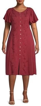 Online Studio West Womens Plus Size Rayon Midi Dress Flutter Sleeve