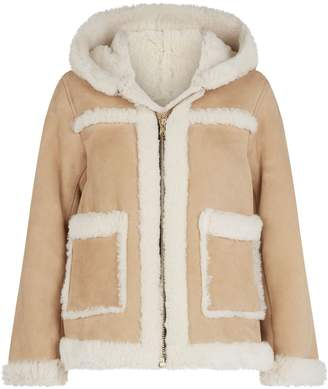 Sandro Hooded Sheepskin Coat