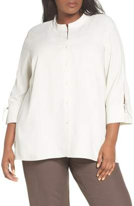 Eileen Fisher Tie Sleeve Silk Blouse