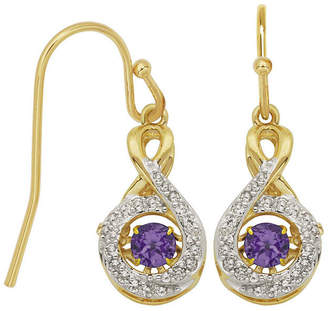 FINE JEWELRY Love in Motion Genuine Amethyst and Lab-Created White Sapphire Round Earrings