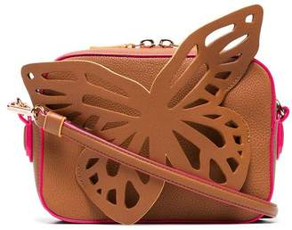 Sophia Webster brown flossy butterfly leather camera bag