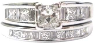 14K White Gold with Diamond Engagement Wedding Ring Set Size 6.5