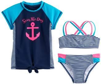 "DAY Birger et Mikkelsen So Girls 4-6x SO ""Seas the Rashguard, Striped Bikini Top & Bottoms Swimsuit Set"