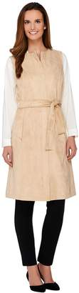 Halston H By H by Faux Suede Zipper Front Sleeveless Vest with Belt
