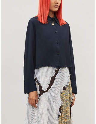 Song For The Mute Raw-hem cropped crepe shirt