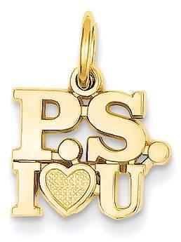 Proenza Schouler Mireval 14k Yellow Gold I Love You Charm (12x17 mm)
