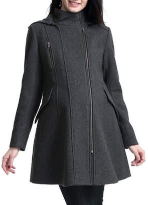76230ea399ffb Kimi + Kai Maternity Cordella Asymmetric Zip-Front Wool-Blend Coat