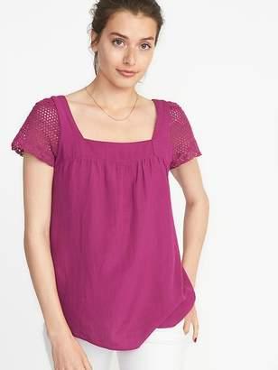 Old Navy Crochet-Sleeve Top for Women