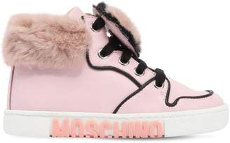 Moschino Leather & Faux Fur High Top Sneakers