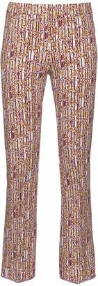 Giambattista Valli Abstract-print cropped flared trousers