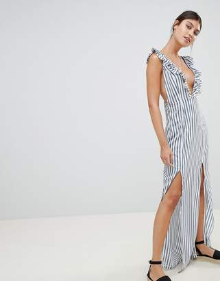 PrettyLittleThing Striped Plunge Maxi Dress