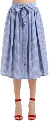 Stella Jean Striped Cotton Midi Skirt
