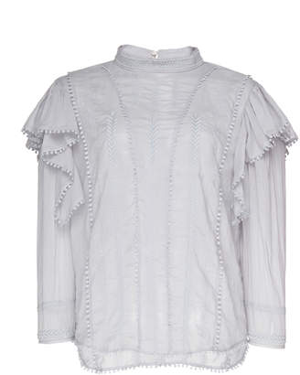 Etoile Isabel Marant Anny Ruffled Cotton-Voile Top
