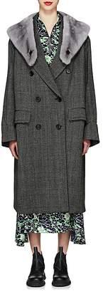 Prada Women's Mink-Fur-Collar Herringbone Virgin Wool Coat