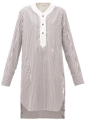 Wales Bonner Genius Baseball Striped Cotton Tunic - Womens - Brown White