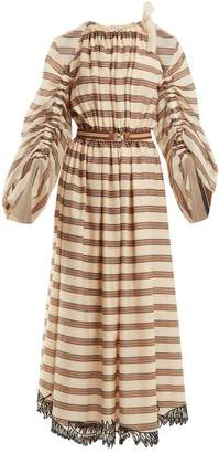 Fendi Striped Cotton Blend Dress - Womens - Beige Multi
