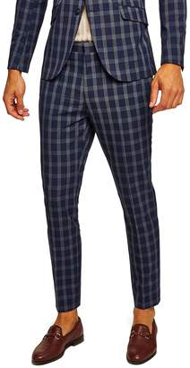 Topman Muscle Fit Check Suit Trousers