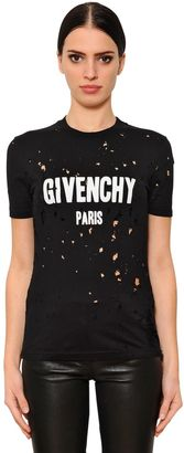Givenchy Printed & Destroyed Jersey T-Shirt