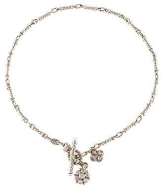 Judith Ripka 18K Diamond & Quartz Scroll Link Necklace