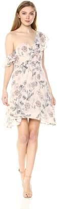 ASTR the Label Women's Libby Asymmetric One Shoulder Short Floral Cocktail Dress, Dusty Blush, L
