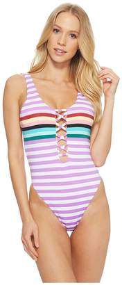 Bikini Lab THE Stripeout Plunge High Leg One-Piece Women's Swimsuits One Piece