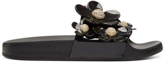 Marc Jacobs Black Pave Daisy Aqua Slides