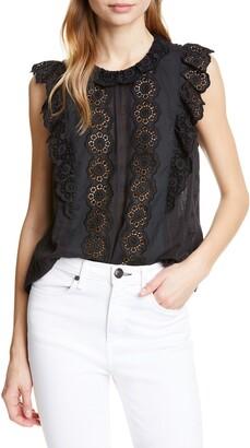 Rebecca Taylor Lace Detail Sleeveless Cotton Blouse