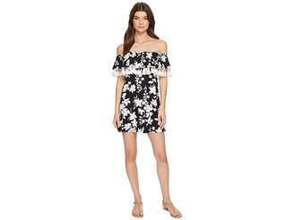MICHAEL Michael Kors Floral Vine Off the Shoulder Cover-Up Dress w/ Tassels Detachable Strap
