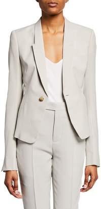 Rick Owens Nat Wool Crepe Blazer Jacket
