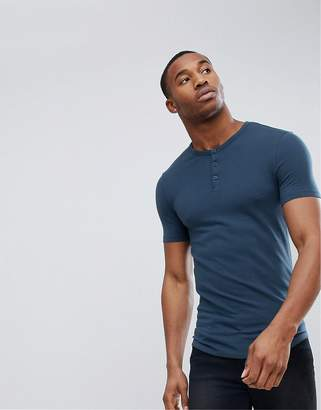 Asos DESIGN Muscle Fit T-Shirt With Grandad Neck