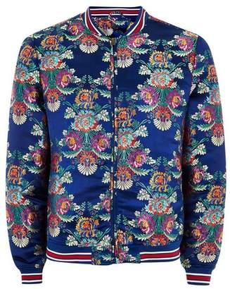 Topman Mens Navy Blue Floral Jacquard Bomber Jacket