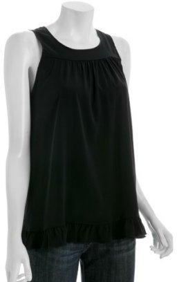 Alisha Levine black silk 'Holly' ruffle trim tunic