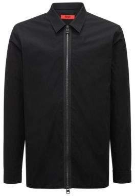 HUGO Boss Relaxed-fit cotton shirt two-way zipper M Black