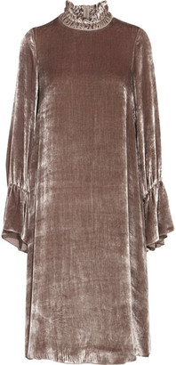 See by Chloé - Smocked Velvet Dress - Antique rose $440 thestylecure.com