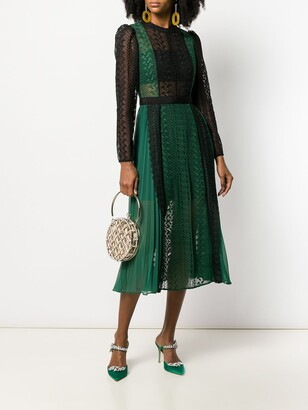 Self-Portrait colour-block lace dress