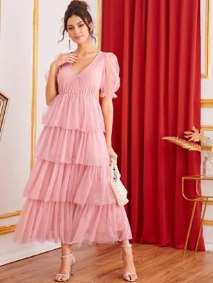Shein Surplice Neck Puff Sleeve Tiered Layered Sequin Mesh Dress