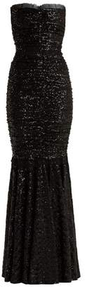Dolce & Gabbana Strapless Fishtail Sequin Embellished Gown - Womens - Black
