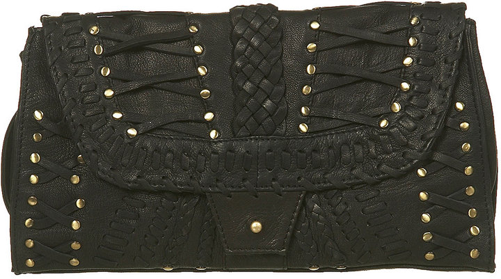 Leather and Plait Stud Clutch