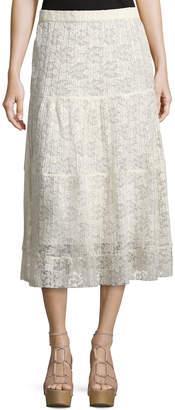 See by Chloe Pleated Burnout Chiffon Midi Skirt, White