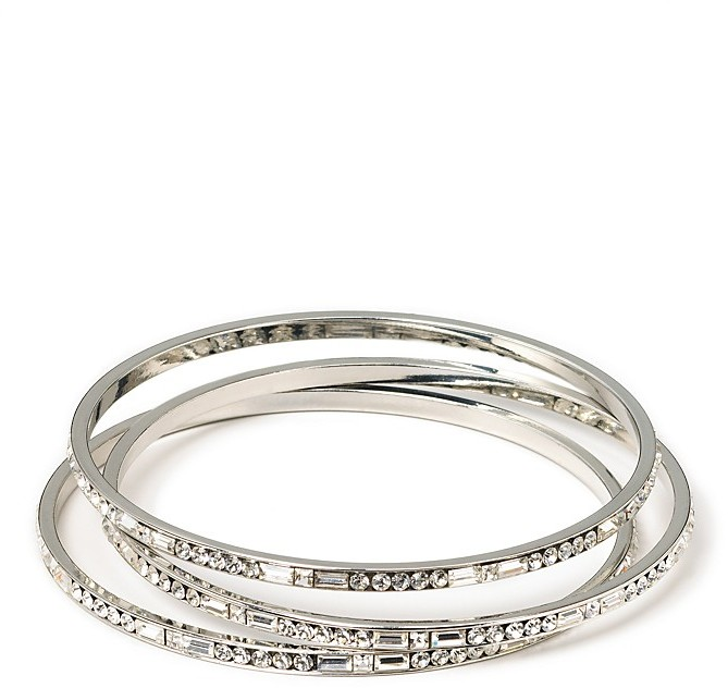 Carolee LUX Silvertone and Crystal Bangles, Set of 3