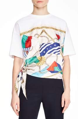 Sandro Josy Nautical Detail Cotton & Silk Top