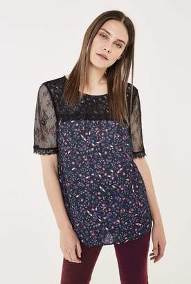 Long Tall Sally Pretty Lace Detail Printed Top