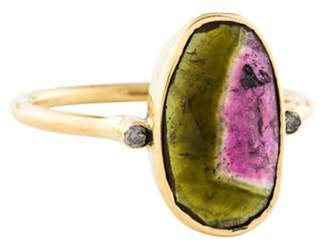 Ring 18K Watermelon Tourmaline & Diamond Cocktail yellow 18K Watermelon Tourmaline & Diamond Cocktail