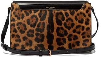 Saint Laurent Catherine Leopard Print Leather Cross Body Bag - Womens - Leopard