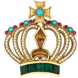 18K Multistone Crown Pendant
